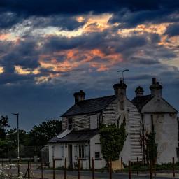 deserted house sunset stormy