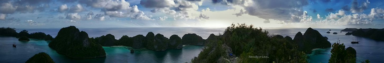 panorama landscape wayag island photography