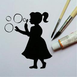 blackandwhite art sketch girl childhood