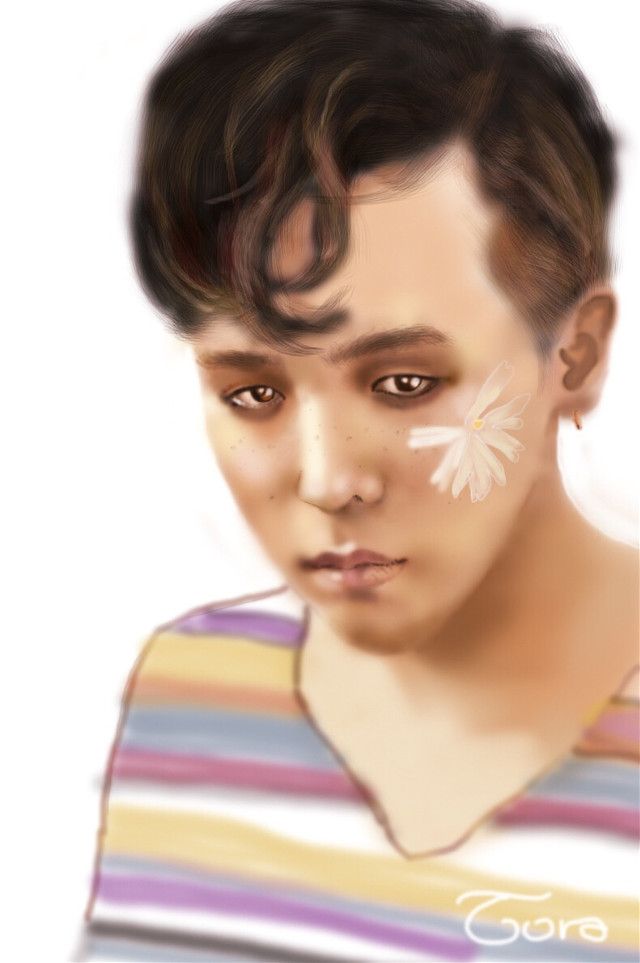 My first coloring draw ever...really long time ago #gdragon #myidol #flower #man #drawing #byTora❤️