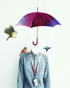 birds umbrella rain surreal people