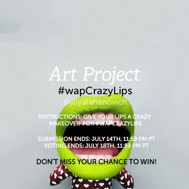 #wapCrazyLips  For the Weekly Art Project, give your lips a bright and flashy makeover! Use the Crazy Lips or Fruit Lips Clipart packages — or any other editing technique you like — to create something fun and jaw-dropping! (Banner image by @yliyatahanovich )