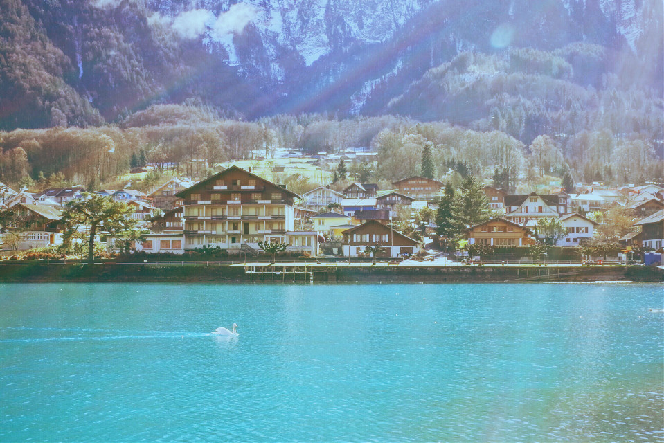 Interlaken, Switzerland #paradise #landscape #village #sunlight #cygnus #lake #mountains #clouds #FreeToEdit