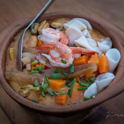 photography foodstye congee seafood mixed