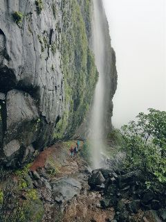 monsoon waterfall mountains rain nature