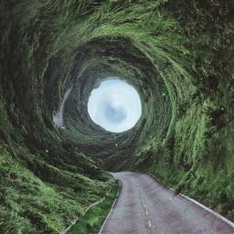 edited green road surreal art