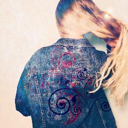 freetoedit remixed photoedit girl jeansjacket