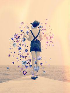 freetoedit girl floatingflowers flowers dock