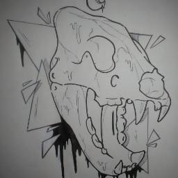 skull lion drawing art makeart